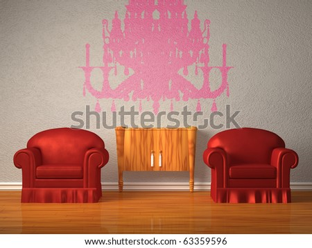 Two chairs with wooden console and silhouette of chandelier in minimalist interior - stock photo
