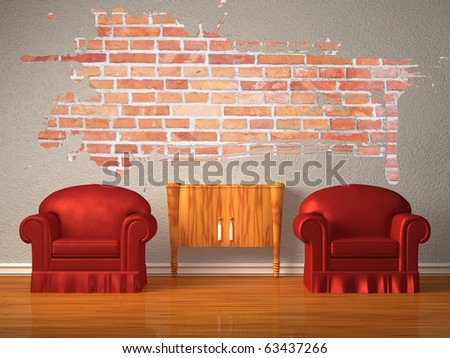 Two chairs with wooden console and splash hole in minimalist interior - stock photo