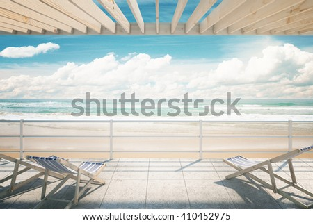 Two chaise longues under awning at the seaside. 3D Rendering - stock photo