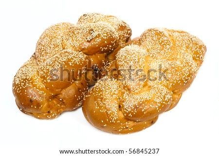 Two challah isolated on white background - stock photo