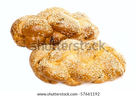 Two challah isolated on white background