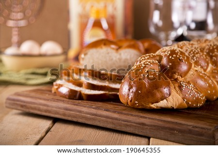 Two challah loaves for Shabbat - stock photo
