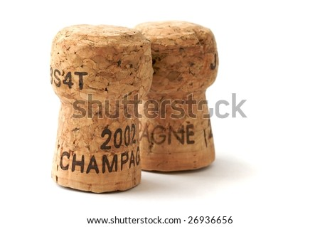Two champagne corks - stock photo