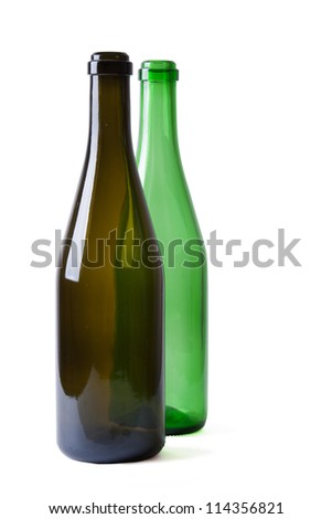 two champagne empty bottles isolated on white background - stock photo