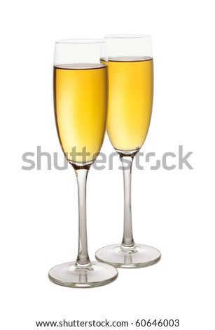 Two champagne flutes, isolated on white