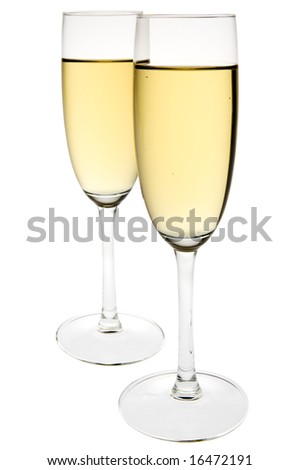 Two champagne flutes on white background. Clipping path incl.