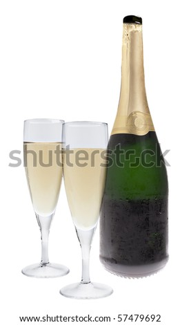 Two champagne glasses and a bottle isolated on white background - stock photo