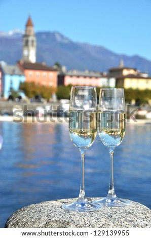 Two champagne glasses. Ascona, Switzerland - stock photo