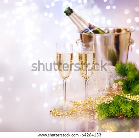 Two Champagne Glasses.New Year Celebration.Shallow DOF