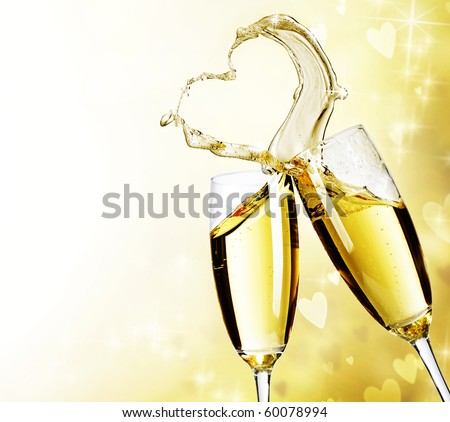 Two Champagne Glasses with abstract Heart splash - stock photo