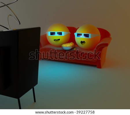 Two characters are watching a 3D movie with 3D glasses - stock photo