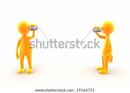 Two characters communicating using tin phone. - stock photo
