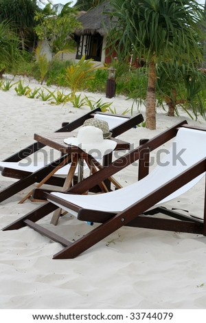 two charis in the tropical paradise - stock photo