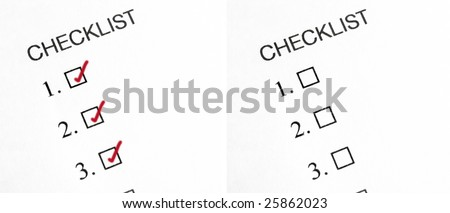Two check lists one with boxes marked the other with boxes left blank. - stock photo