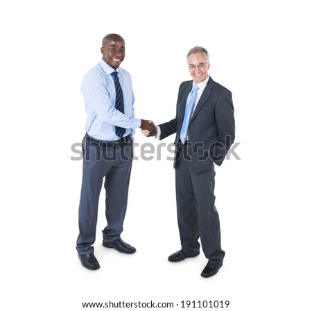 Two Cheerful Corporate People having a Business Handshake