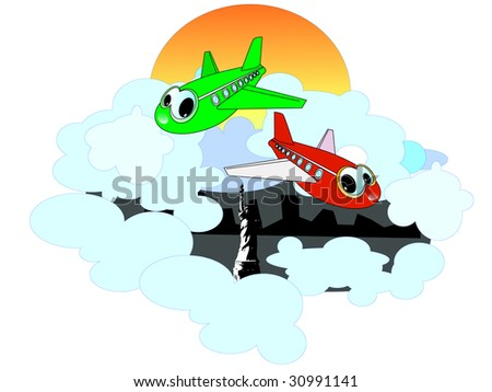 Two cheerful planes look at you.