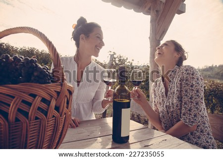 Two Cheerful Young Female Drinking Wine In Vineyard - stock photo