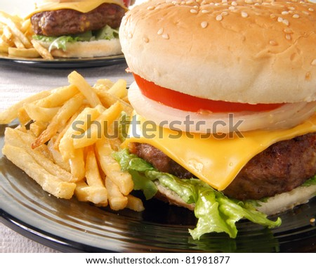 Two cheeseburgers and french fries - stock photo