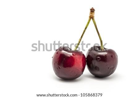 Two Cherries on white background - stock photo
