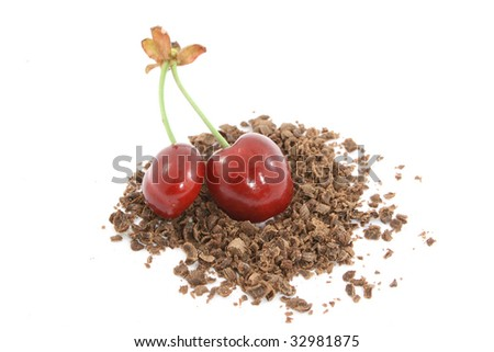 two cherries with chocolate - stock photo