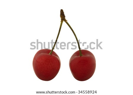 Two cherries with clipping path