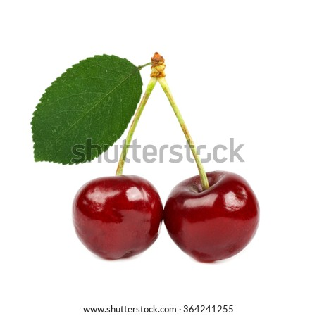 two cherries with leaf isolated - stock photo