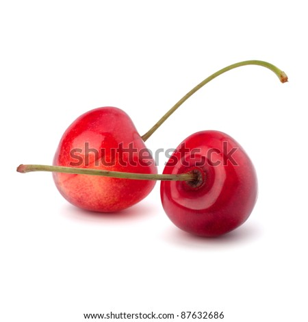 Two cherry berries isolated on white background