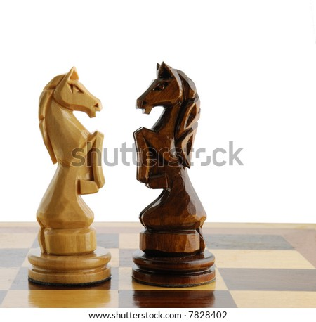 two chess horse - stock photo