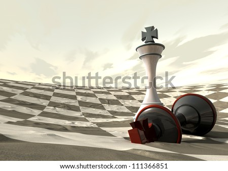 Two chess kings finish a game on a checkered desert like terrain with the white king standing over the fallen white king