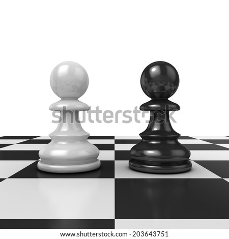 Two chess pawns, black and white figures on board - stock photo