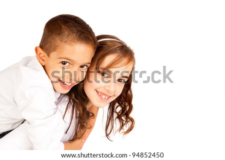 Two child brothers isolated on white - stock photo