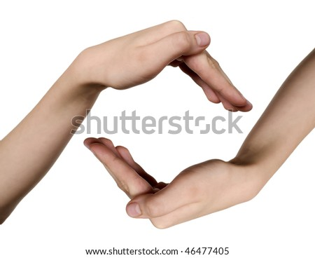 Two child hands on white background, care idea
