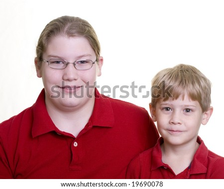 Two child on white