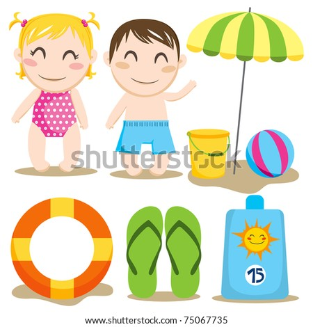 Two children and a collection of beach items and toys - stock photo