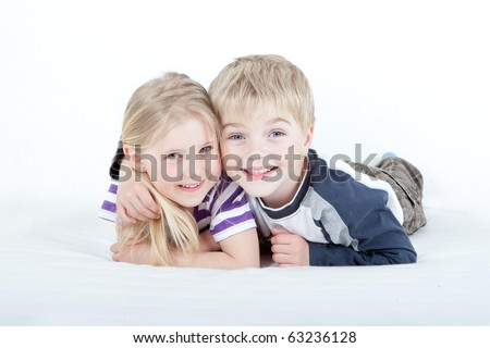 two children brother and sister boy girl young - stock photo