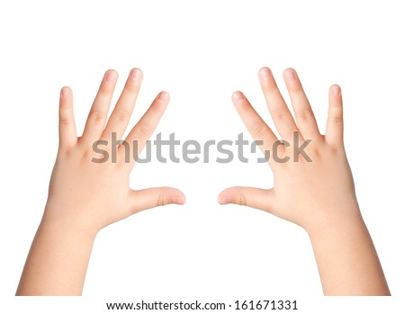 two children hands on an isolated background - stock photo
