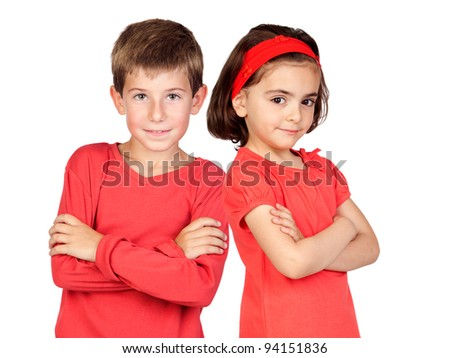Two children in red isolated on white background - stock photo