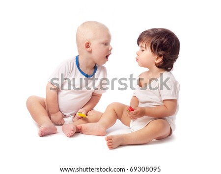 two children isolated on white