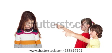 Two children laughing at a little girl isolated on white background - stock photo