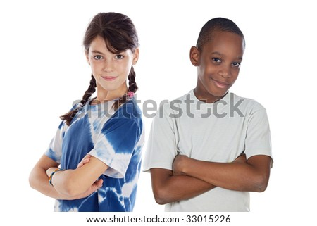 Two children of different races isolated over white - stock photo