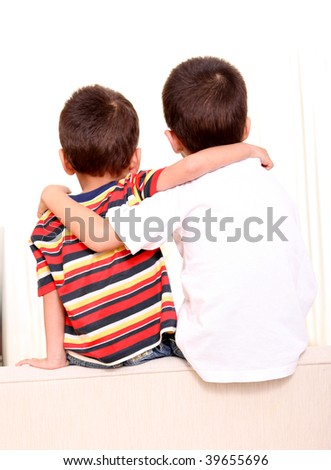 Two children on back and hugging. Beauty image
