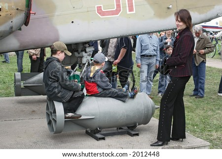 Two children play with a bomb