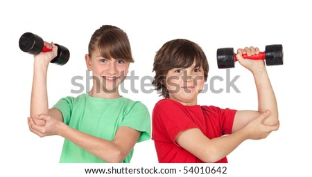 Two children playing sports with weights isolated on white background
