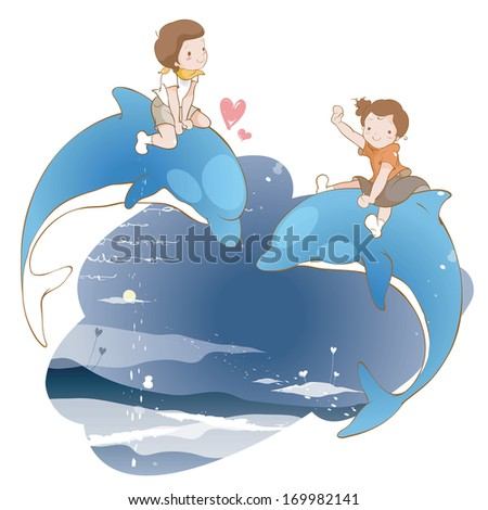 Two children riding dolphins at night.