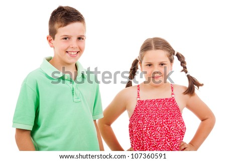 Two children standing over white background