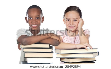 Two children supported on a stack of books isolated on white - stock photo