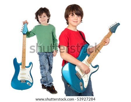 Two children whit electric guitar a over white background - stock photo