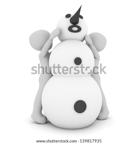 Two childs are building a big snowman. - stock photo