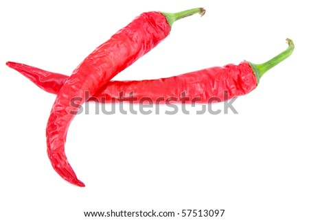 two chili peppers isolated on white background - stock photo