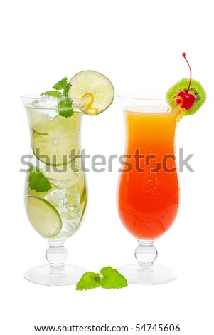 Two chilled tropical cocktails on a white background - stock photo